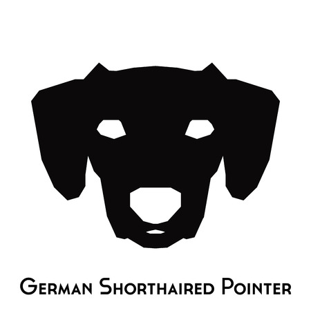 shorthaired: Isolated silhouette of a German Shorthaired Pointer on a white background Illustration