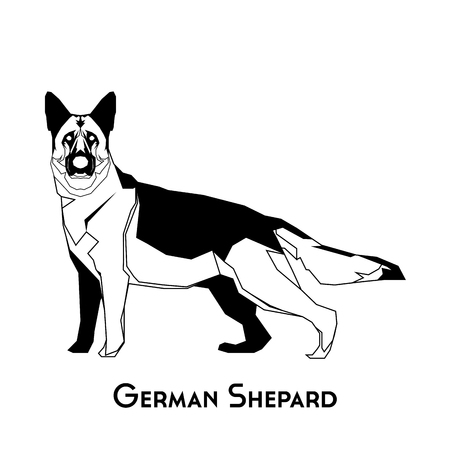 shepard: Isolated silhouette of a German Shepard on a white background Illustration