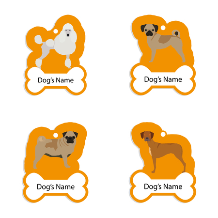 small group of animal: Set of dog tags with text and different illustrations of dog breed