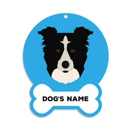 Geïsoleerde blauwe dog tag met tekst en een illustratie van een hondenras