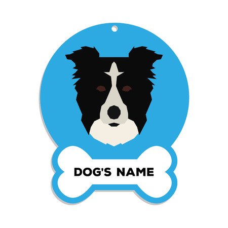 border collie: Isolated blue dog tag with text and an illustration of a dog breed Illustration