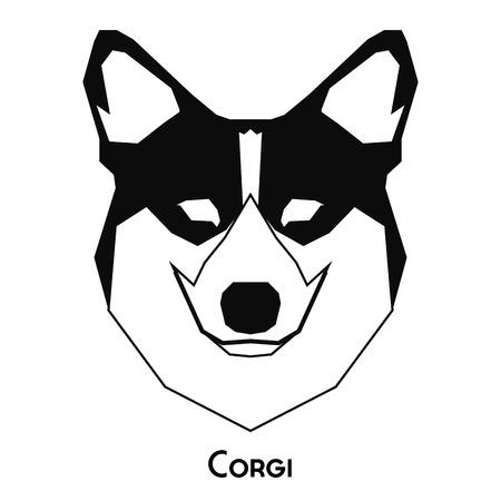 corgi: Isolated silhouette of a cute corgi on a white background