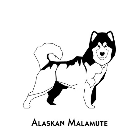 Isolated silhouette of an alaskan malamute on a white background