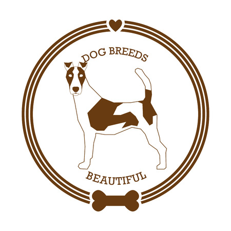 Isolated sticker with a silhouette of a fox terrier on a white background