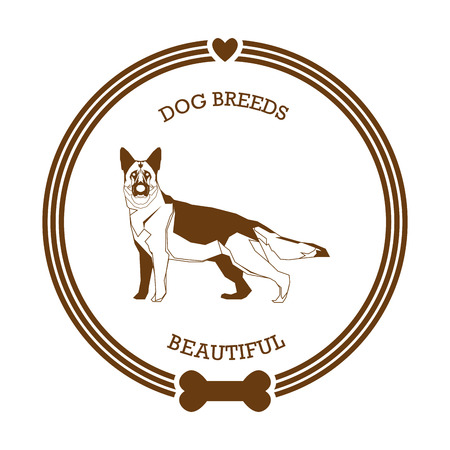 german shepard: Isolated sticker with a silhouette of a German Shepard on a white background
