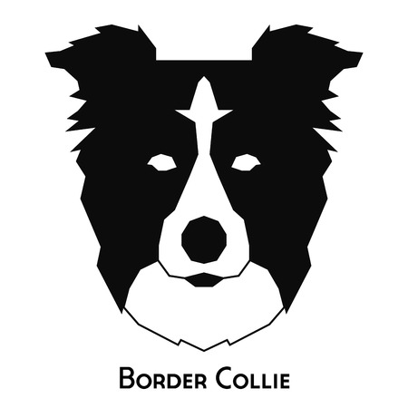 border collie: Isolated silhouette of a border collie on a white background