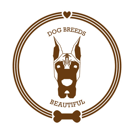 great dane: Isolated sticker with a silhouette of a great dane on a white background Illustration