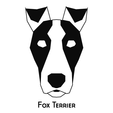 fox terrier: Isolated silhouette of a fox terrier on a white background