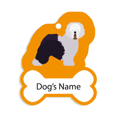 sheepdog: Isolated golden dog tag with text and an illustration of a dog breed