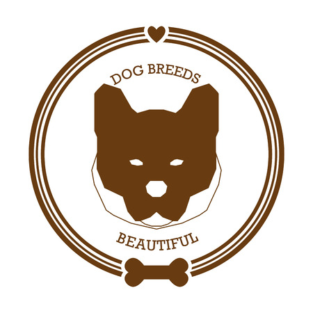 akita: Isolated sticker with a silhouette of an akita dog on a white background Illustration