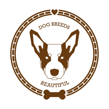 Isolated sticker with a silhouette of an Australian Cattle dog on a white background Illustration