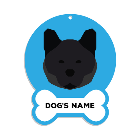 akita: Isolated blue dog tag with text and an illustration of a dog breed Illustration