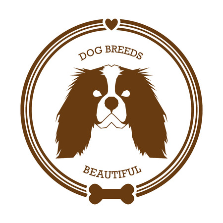Isolated sticker with a silhouette of a Cavalier King Charles Spaniel on a white background