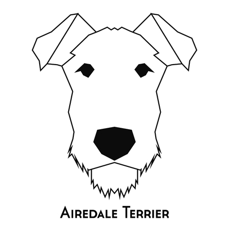 airedale: Isolated silhouette of an Airedale Terrier on a white background Illustration