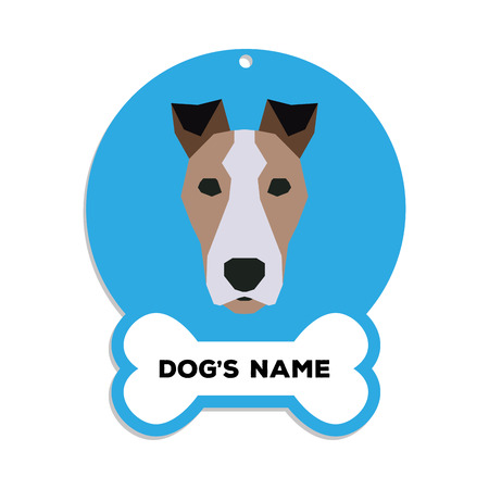 fox terrier: Isolated blue dog tag with text and an illustration of a dog breed Illustration