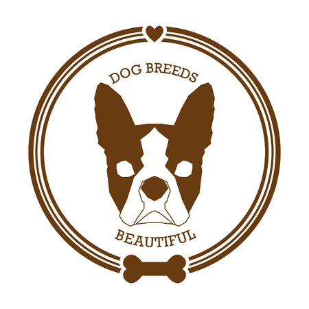 boston terrier: Isolated sticker with a silhouette of a boston terrier on a white background Illustration