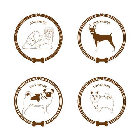 breed: Set of stickers with different dog breed illustrations and text