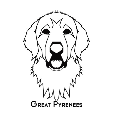 great pyrenees: Isolated silhouette of a great pyrenees on a white background Illustration
