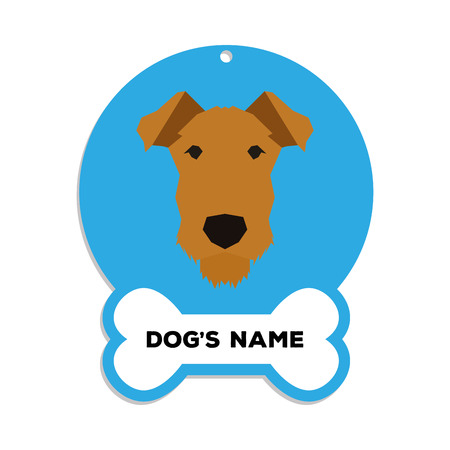 airedale: Isolated blue dog tag with text and an illustration of a dog breed Illustration