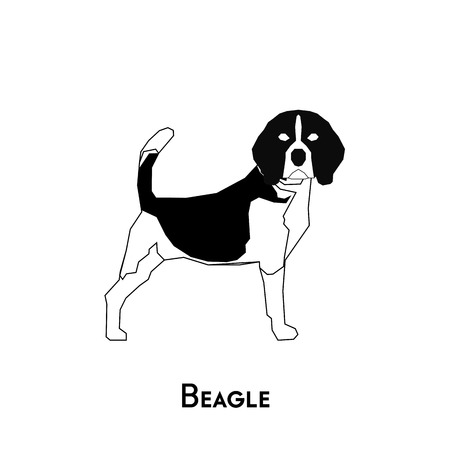 beagle: Isolated silhouette of a cute Beagle on a white background