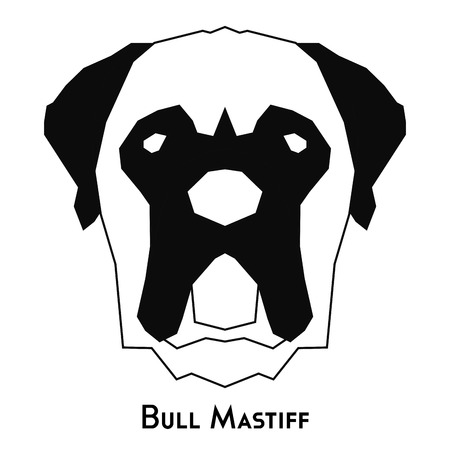 mastiff: Isolated silhouette of a bull mastiff on a white background