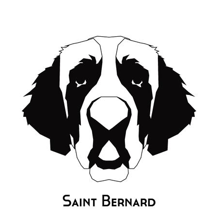 bernard: Isolated silhouette of a Saint Bernard on a white background