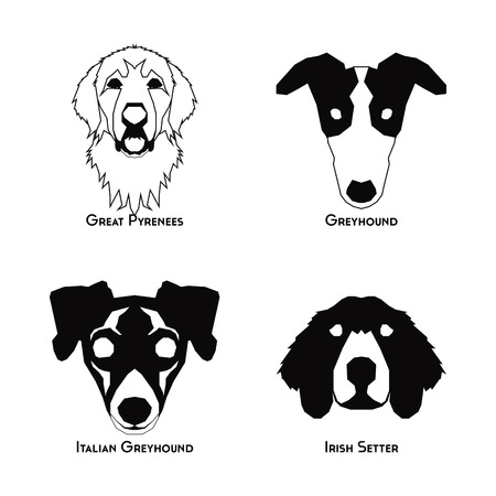 great pyrenees: Set of silhouettes of different dog breeds on a white background