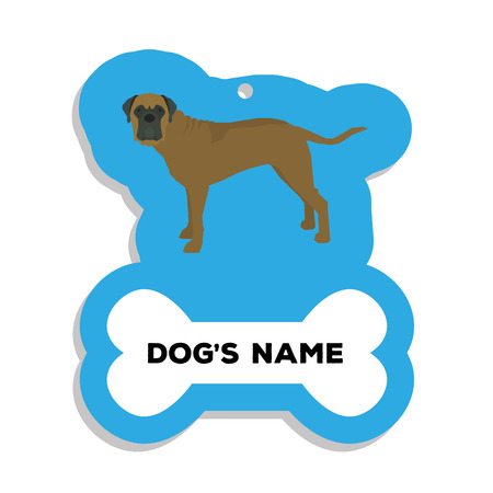 bull mastiff: Isolated blue dog tag with text and an illustration of a dog breed Illustration