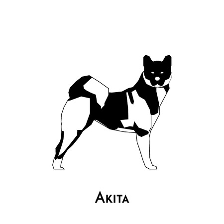 akita: Isolated silhouette of an akita dog on a white background
