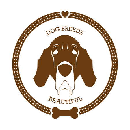 bloodhound: Isolated sticker with a silhouette of a bloodhound dog on a white background