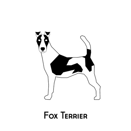 Isolated silhouette of a fox terrier on a white background
