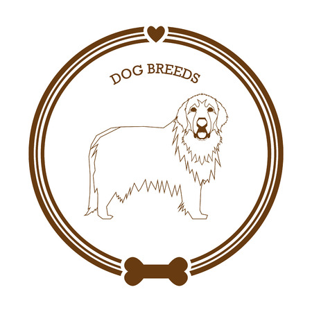 great pyrenees: Isolated retro sticker with a dog breed illustration, text, hearts and a bone icon
