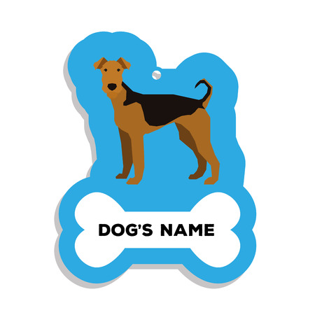 airedale terrier: Isolated blue dog tag with text and an illustration of a dog breed Illustration