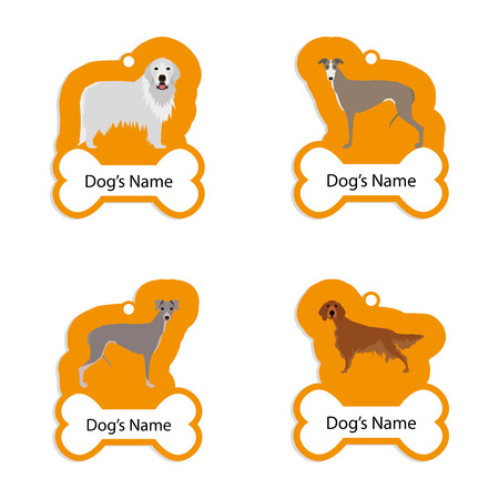 the irish image collection: Set of dog tags with text and different illustrations of dog breed