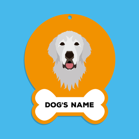 great pyrenees: Isolated golden dog tag with text and an illustration of a dog breed