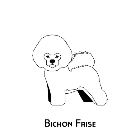 frise: Isolated silhouette of a bichon frise dog on a white background
