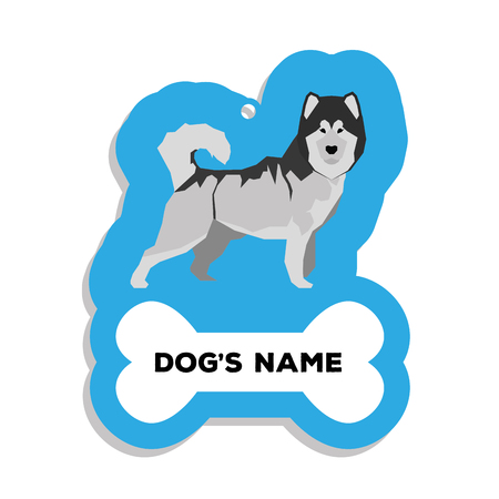 malamute: Isolated blue dog tag with text and an illustration of a dog breed Illustration