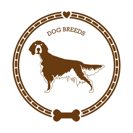 setter: Isolated retro sticker with a dog breed illustration, text, hearts and a bone icon