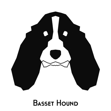 hound: Isolated silhouette of a basset hound dog on a white background Illustration