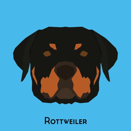 Geïsoleerde schattige Rottweiler op een blauwe achtergrond Vector Illustratie