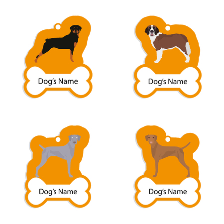 saint bernard: Set of dog tags with text and different illustrations of dog breed