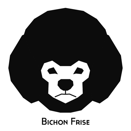 Isolated silhouette of a bichon frise dog on a white background