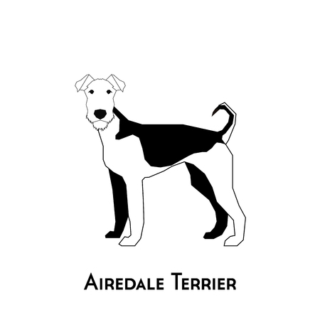 Isolated silhouette of an Airedale Terrier on a white background Illustration