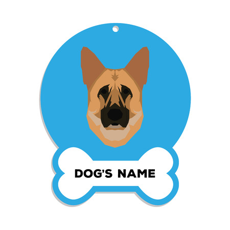 shepard: Isolated blue dog tag with text and an illustration of a dog breed Illustration