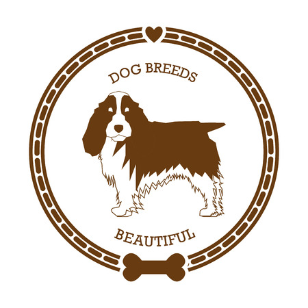 cocker: Isolated sticker with a silhouette of a cocker spaniel on a white background