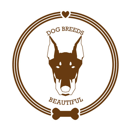 pinscher: Isolated sticker with a silhouette of a doberman pinscher on a white background