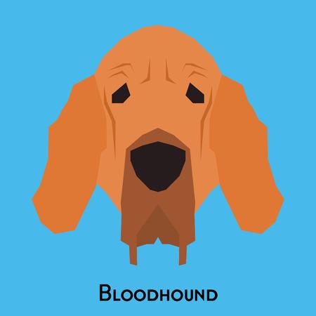 bloodhound: Isolated bloodhound dog on a blue background Illustration