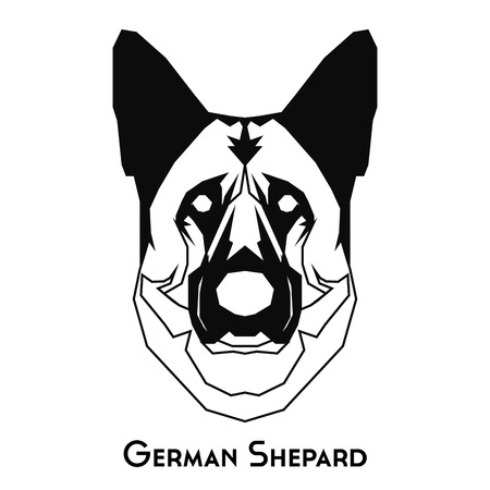 Isolated silhouette of a German Shepard on a white background Illustration