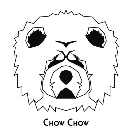 chow: Isolated silhouette of a chow chow on a white background Illustration