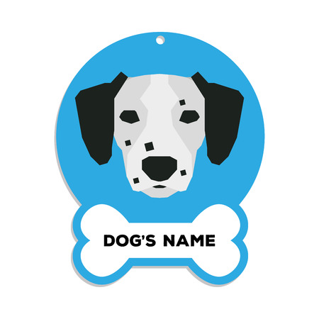 dog tag: Isolated blue dog tag with text and an illustration of a dog breed Illustration